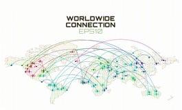 Na całym świecie interneta socjalny komunikacja Dane strumienia trajektoria, obłoczny oblicza abstrakcjonistyczny tło globalna si ilustracja wektor