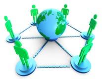 Na całym świecie Pokazuje sieć komputerową I gawędzenie komunikacja ilustracja wektor