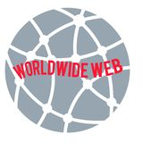 Na całym świecie sieć logo, czerwoni sformułowania na kółkowej kuli ziemskiej siwieje tło royalty ilustracja