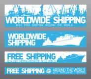 Na całym świecie uwalnia wysyłka sztandary. ilustracja wektor