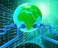 Na całym świecie Wskazuje planetę sieć Komunikuje I łączliwość ilustracji