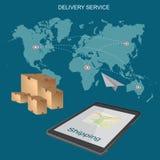 Na całym świecie, wysyłający, doręczeniowa usługa, pojęcie, płaska wektorowa ilustracja Zdjęcie Stock