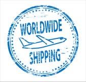 na całym świecie wysyłka gumowy znaczek Fotografia Royalty Free