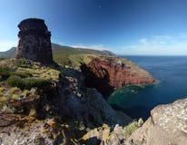 Na Capraia wyspie stary wierza Obrazy Stock
