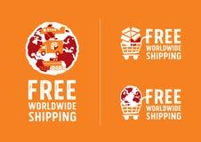 Na całym świecie wysyłać logów i znaki z kuli ziemskiej ikoną Obraz Royalty Free