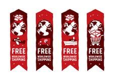 Na całym świecie wysyłać logów i znaki z kuli ziemskiej ikoną Zdjęcie Stock