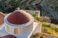 One chapels clings to the edge of the village of Olympos village, Karpathos island, Greece Stock Image
