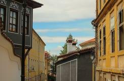 Na cidade velha de Plovdiv, Bulgária foto de stock