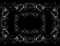 Na ciemnym tle abstrakcjonistyczny biały kwiecisty ornament Obraz Royalty Free