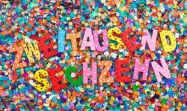 2016 na confetti Fotografia Stock