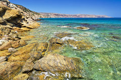 Na Crete Vai skalista plaża Obrazy Royalty Free