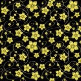 Na czarny tle złoci kwiaty Obrazy Royalty Free