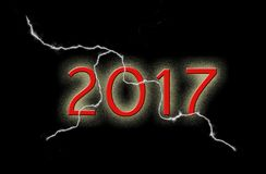 2017 na czarnym tle z błyskawicą Obraz Stock