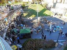 Na de confrontatie op Maidan van Kiev in de Oekraïne in 2014 stock afbeeldingen