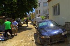 Na de overstroming van Varna Bulgarije 19 Juni Royalty-vrije Stock Foto's