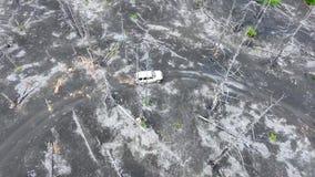 Na de uitbarsting van de vulkaan Plosky Tolbachik in Kamchatka stock footage