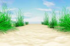 Na dennym brzeg Piaskowaty wybrzeże z trawą royalty ilustracja