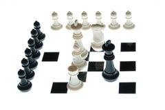 Na desce szachowi kawałki Zdjęcia Stock
