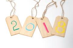 2018 na drewnianej ramie Szczęśliwy nowy rok 2018 Zdjęcia Royalty Free