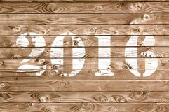 2016 na drewnianym panelu Zdjęcie Royalty Free