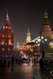 Na drodze plac czerwony - Moskwa nocą Zdjęcie Stock