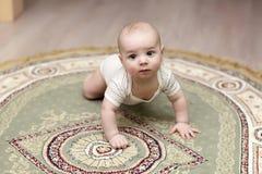 Na dywanie dziecka czołganie obraz royalty free