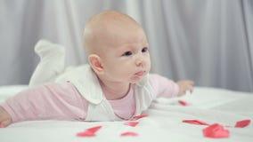 Na dziecko spadku czerwieni sercach zdjęcie wideo