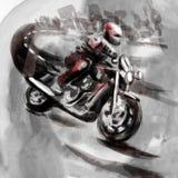 Na estrada, cavaleiro da motocicleta - uma mão ilustração tirada ilustração stock