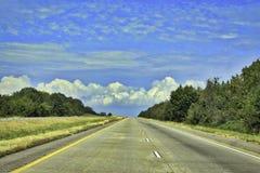 Na estrada outra vez, estrada de Oklahoma fotografia de stock