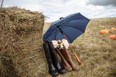 Na exploração agrícola Composição das botas de borracha, do guarda-chuva, da palha e das flores fotografia de stock royalty free