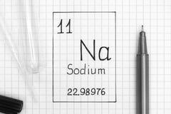 Na för natrium för kemisk beståndsdel för handskrift med den svarta pennan, provrör arkivbilder
