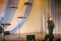 """Na fase que canta Vasily Gerello G cantor da ópera soviete e do russo do †do"""" (barítono) Fotografia de Stock"""