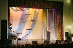 """Na fase que canta Vasily Gerello G cantor da ópera soviete e do russo do †do"""" (barítono) Imagem de Stock Royalty Free"""