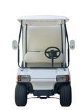 Na frente do carrinho de golfe para viajar no campo de golfe imagem de stock