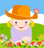 Na gazonie śliczna mała dziewczynka Obrazy Royalty Free