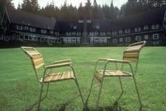 Na gazonie plenerowi krzesła Zdjęcie Royalty Free