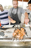 Na gorącym grillu uliczny karmowy kurczak Jerozolima Zdjęcia Royalty Free