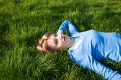 Na grama Foto de Stock