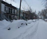 Na het sneeuwonweer in Montreal stock foto's