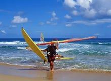 Na het windsurfing Stock Afbeelding
