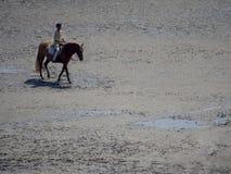 Na horseback krzyżuje pływowej zatoki przy Mont saint michel, Francja Zdjęcia Stock