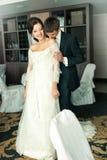 Na ich ślubie powabny państwo młodzi Obraz Stock