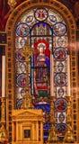 9na iglesia París Francia de Louis En L'ile del santo del vitral de rey Louis Foto de archivo libre de regalías