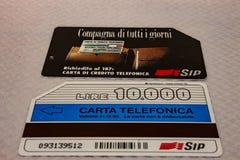 Na imagem um exemplo de um cartão italiano do telefone fotografia de stock