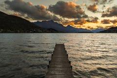 Na jeziorze drewniany molo Obrazy Royalty Free