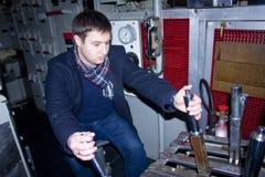 Na kapitanu moscie dieslowska łódź podwodna Zdjęcia Stock