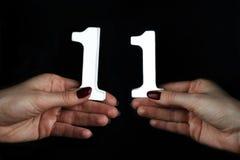 Na kobiet palm postaci jedenaście zdjęcie royalty free