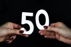Na kobiet palm postaci pięćdziesiąt obrazy stock