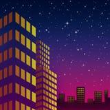 Na kolorowym niebie noc pejzaż miejski Obrazy Stock