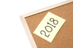 2018 na korek desce Szczęśliwy nowy rok 2018 Zdjęcia Stock